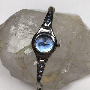 Vintage y2k 00s silver blue watch quartz Japan